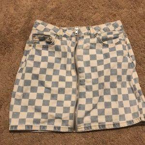 Bright blue zip down checkered short skirt